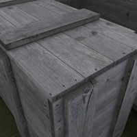3d model old wooden crate
