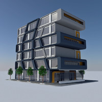 Modern Sci Fi Apartment City Building - HD Futuristic Cityscape Tile 7