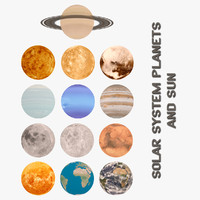 3d model of solar planets sun
