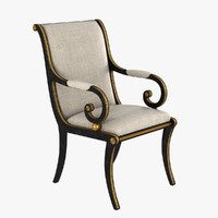 3d model classic chair french empire