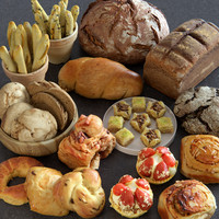 3d food bread assets model