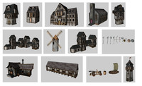3d model medieval games buildings