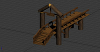 3d model wooden bridge