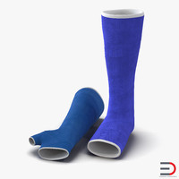 3d model blue fiberglass cast arm