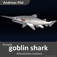 realistic female goblin shark 3d 3ds