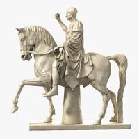 equestrian statue marcus nonius 3d model