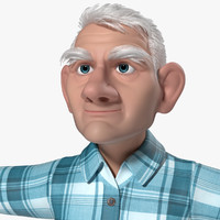 tom old man cartoon animation 3d model