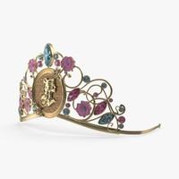 belle inspired tiara 3d model