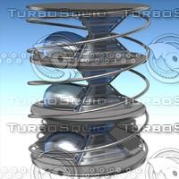 3d model futuristic building