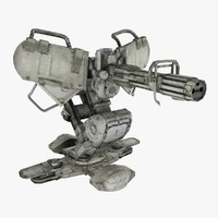 machine gun turret animations 3d model