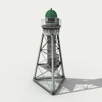 white metal lighthouse - 3d model