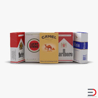 3d model closed cigarettes packs