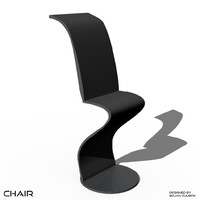 3d futuristic chair bench set