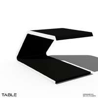 futuristic table desk bench 3d blend