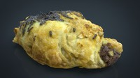 3d model hd chocolate croissant