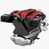 3d model ferrari v12 engine tipo
