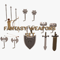 3d fantasy weapons set model
