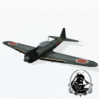 3d mitsubishi zero fighter aircraft model