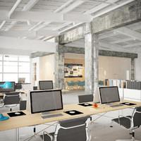 industrial office interior obj