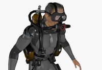 3d model scuba diver animations