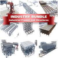 industrial buildings structures frames 3d max