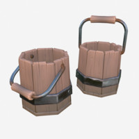 3d model cartoon wooden bucket