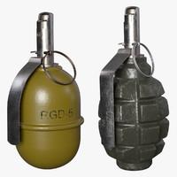grenades set 3d 3ds