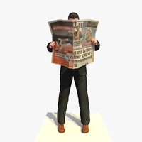 c4d business man standing reading