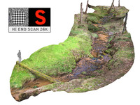 3d long forest river 24k model