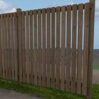 wooden fence fencing 3d model