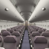 Economy Airplane Cabin Interior