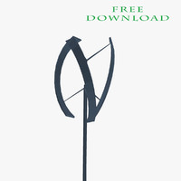 free darrieus wind turbine vertical 3d model