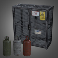 Gas Cylinder Cage with Gas Cylinders - PBR Game Ready
