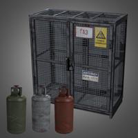 3d obj gas cylinder cage -