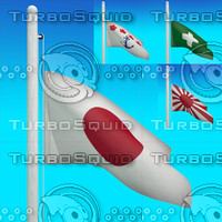 3d model flags japan - loop