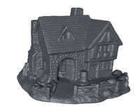 realistic medieval stone house 3d model