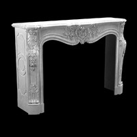 Beautiful antique Louis XV style fireplace with flowers decor in white Carrara marble