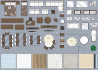 2d furniture floorplan, top-down view (style-3). PSD