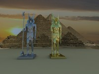 3d god anubis golden silver model