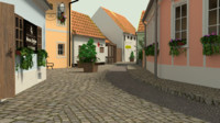 3d model baroque street 4 engraving