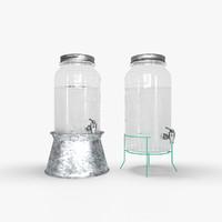 3d glass jar beverage dispenser