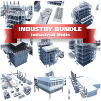3d industrial buildings processing units model