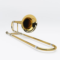 3d trombone slightly aged model