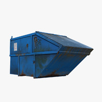 blue painted metal container 3d model