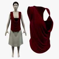 3d model of cowl shirt skirt avatar