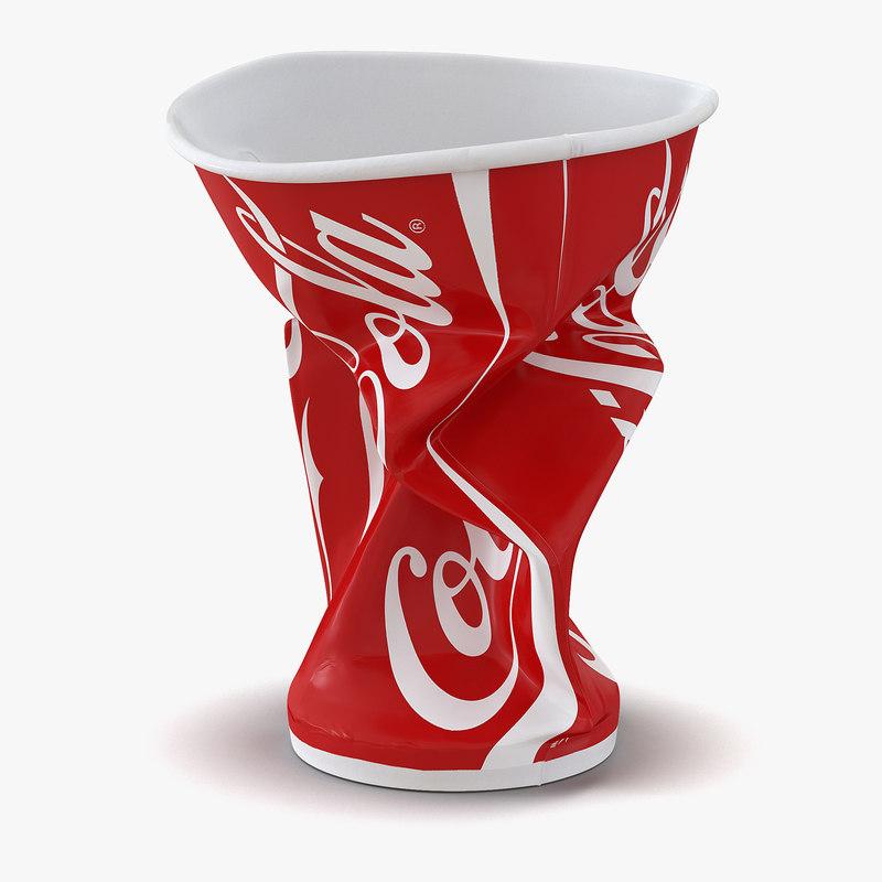 Crumpled Drink Cup Coca Cola 3d model 01.jpg