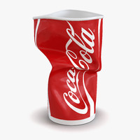 3d crumpled drink cup coca cola