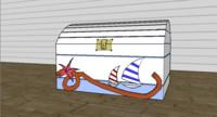 3d decorative chest beach theme