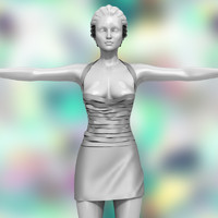 3d model fetish short dress