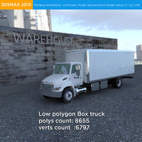 Heavy duty International box truck low polygon